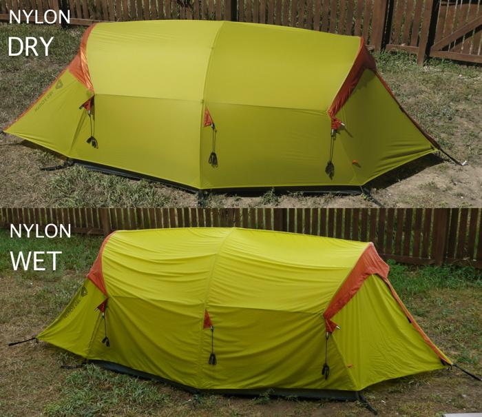 Nylon rainfly wet-dry1 small & Polyester versus Nylon | TheTentLab