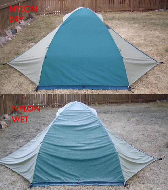 Nylon rainfly wet-dry2 small & Polyester versus Nylon | TheTentLab